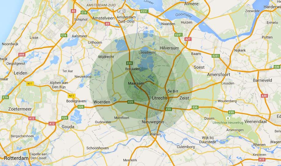 Werkgebied van hovenier Verdonk Tuinen: provincie Utrecht en omgeving